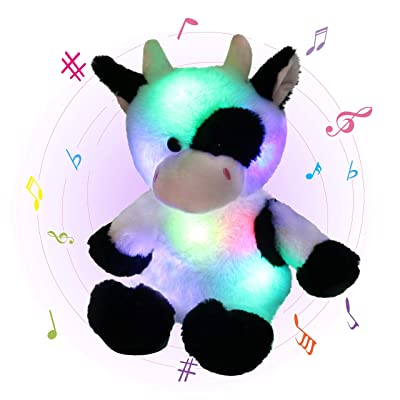 Glow Guards 15'' Light up Musical Stuffed Dairy Cow Soft Plush Toy with LED Night Lights Nursery Songs Adorable Glow Singing Farm Animal Birthday for Toddler Kids: Toys & Games