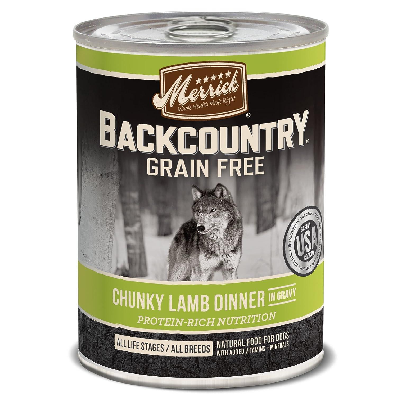 MERRICK BACKCOUNTRY GRAIN FREE WET DOG FOOD, 12.7 OZ, 12 COUNT CHUNKY LAMB