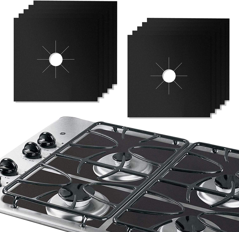 10 fundas para quemador de gas de 0,2 mm de grosor doble reutilizable, protector de rango de cocina antiadherente para cocina, 27 x 27 cm, aprobado ...