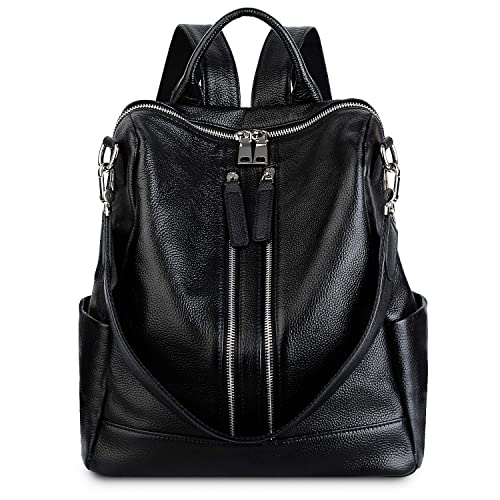 296cf9747ca0 Yaluxe Women's Genuine Leather Backpack Casual Daypack Convertible Purse  Fashion Shoulder Bag Satchel Black