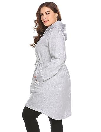 24e90b183ccf6 Zeagoo Womens Plus Size Casual Zip up Fleece Hoodies Long Tunic Hooded  Sweatshirt Jacket Coat Outerwear ...