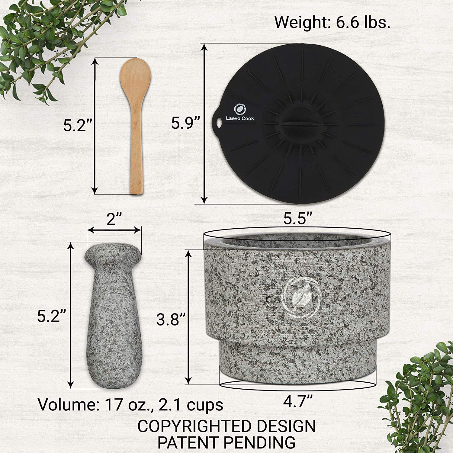 Mortar and Pestle Set Granite  56 Inch 22 Cup  Unique Double Sided  Pestle and Mortar Bowl Solid