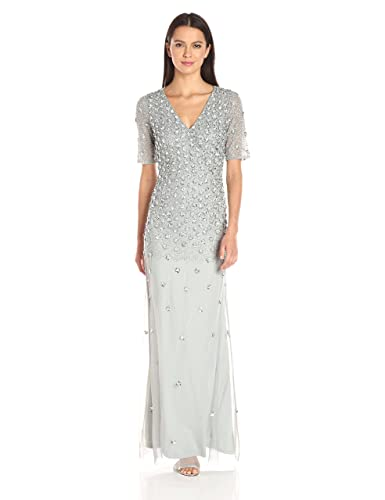 Adrianna Papell Women's 3/4 Sleeve Wrap Front Gown with V-Neckline