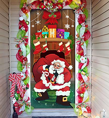 Joiedomi Christmas Santa with Gifts Window Door Cover Holiday House Decoration 72X30 Inches & Amazon.com: Joiedomi Christmas Santa with Gifts Window Door Cover ...