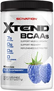 XTEND Original BCAA Powder Blue Raspberry | Sugar Free Post Workout Muscle Recovery Drink with Amino Acids | 7g BCAAs for Men & Women | 20 Servings