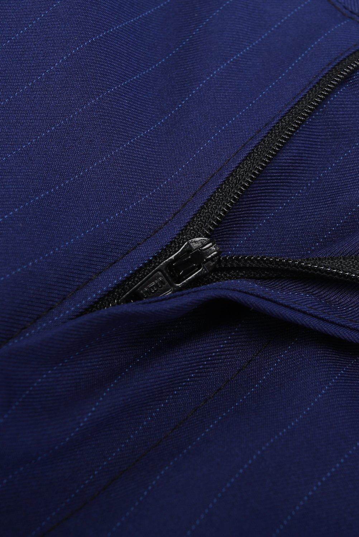 CMDC Men's 3 Pieces Business Suits Slim Fit Stripe Blazer Jacket Vest Pants Set SI137 (Blue,40) by CMDC (Image #7)