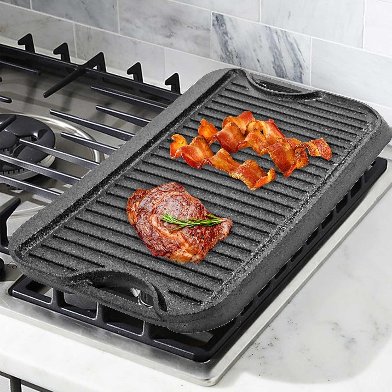 CO-Z Planchas de Parrilla Placa de Presión de Hierro Fundido con Aceite Vegetal Antiadherente Plancha Universal para Cocina con Horno a Gas o Parrilla: ...