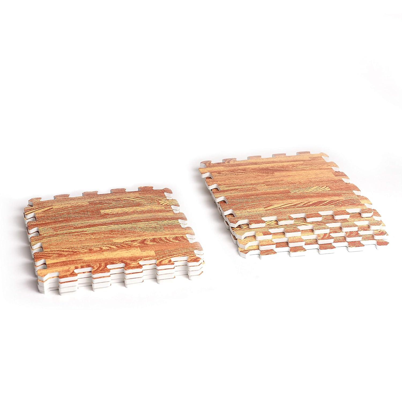 12x12 excersize Foam Mat Rubber Floor Tiles Wood Grain Puzzle Floor Mat Dance 8 pcs Workout Kids Deke Home Interlocking Gym Foam mats 10mm Thick Wooden Printing Foam mat Flooring garaje