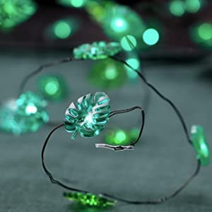 MIYA LIFE Monstera Leaf String Lights 10 ft 40 LED Fairy Lights with Remote Green Palm Leaves for Bedroom Feast of St. Patrick's Day Green Decoration Summer Party Tropical Themed Decor Leprechaun Hats