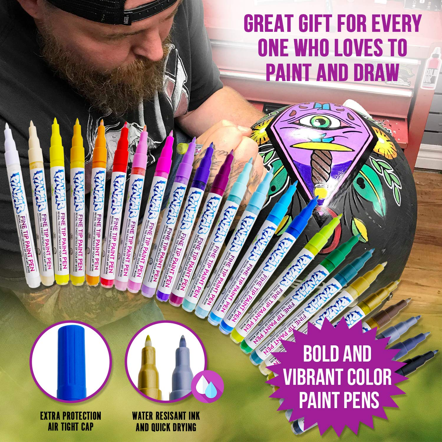 PINTAR - Acrylic Fine Tip Paint Pens For Rock Painting Art - 24 Pack Vibrant Colors for Wood, Glass, Metal and Ceramic - Water Resistant and Quick Drying Ink For Arts & Crafts by PINTAR (Image #9)