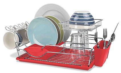 Amazon Com Home Basics 2 Tier Dish Drainer Black Kitchen Dining