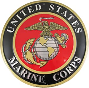 Tags America United States Marines Emblem Metal Sign - US Marine Corps USMC Logo, 12 Inch Round Wall Decor