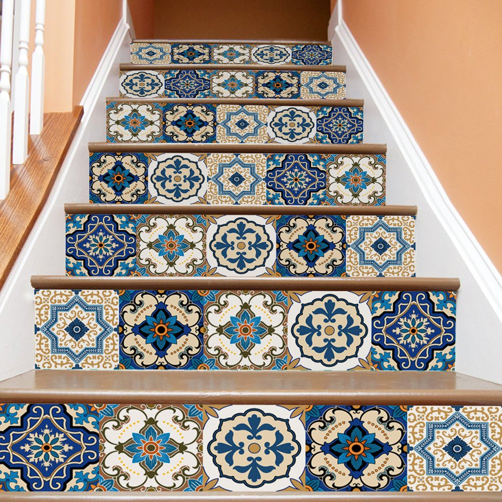 amazon com apsoonsell traditional mexican talavera tile stairapsoonsell traditional mexican talavera tile stair sticker 3d removeable waterproof wallpaper decor home decorations, 100 x 18cm 39 3\