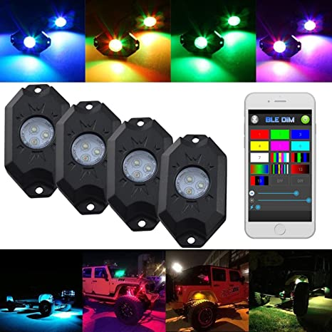 d39de61cc60ad8 Willpower LED RGB Rock Light Kits With Cell Phone APP Bluetooth Control  With 4 Pods Under