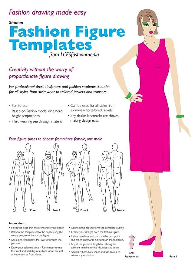 fashion figure design template set pose 4 amazon co uk diy tools