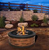 "Rustic Brown Wood Burning Fire Pit 35"" Diameter Steel Base w/ 26"" Mesh Screen Spark Protector w/ Lift Hook, Large Heat Resistant Fire Bowl, Appealing Rustic Wood Simulated Base"