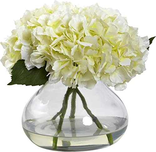Nearly Natural 1357-CR Blooming Hydrangea with Vase, Large, Cream