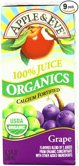 Apple & Eve Organics Juice, Grape 200ml, 3 Count (Pack of 9)