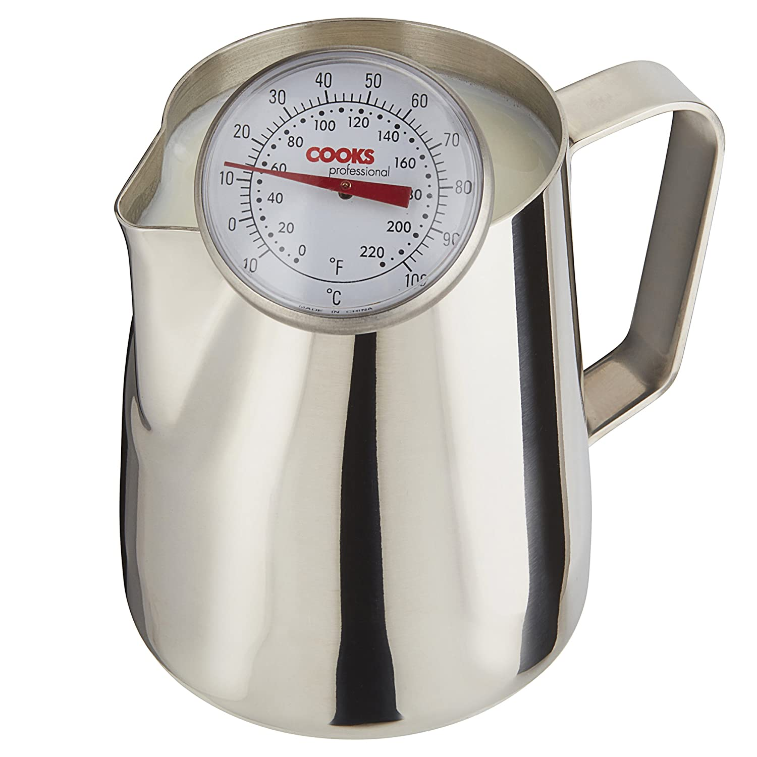 Cooks Professional Milk Frothing Jug & Thermometer, Barista Style Lattes, Coffee, Hot Chocolate Stainless Steel Clifford James