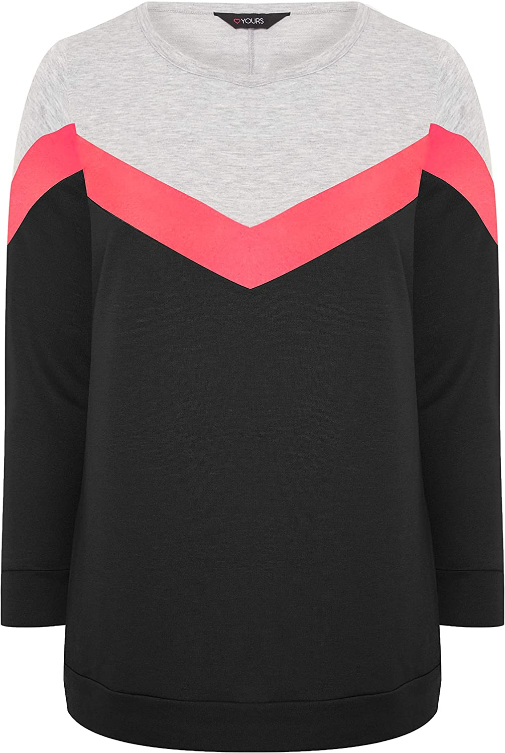 Yours Clothing Womens Plus Size Chevron Colour Block Sweatshirt