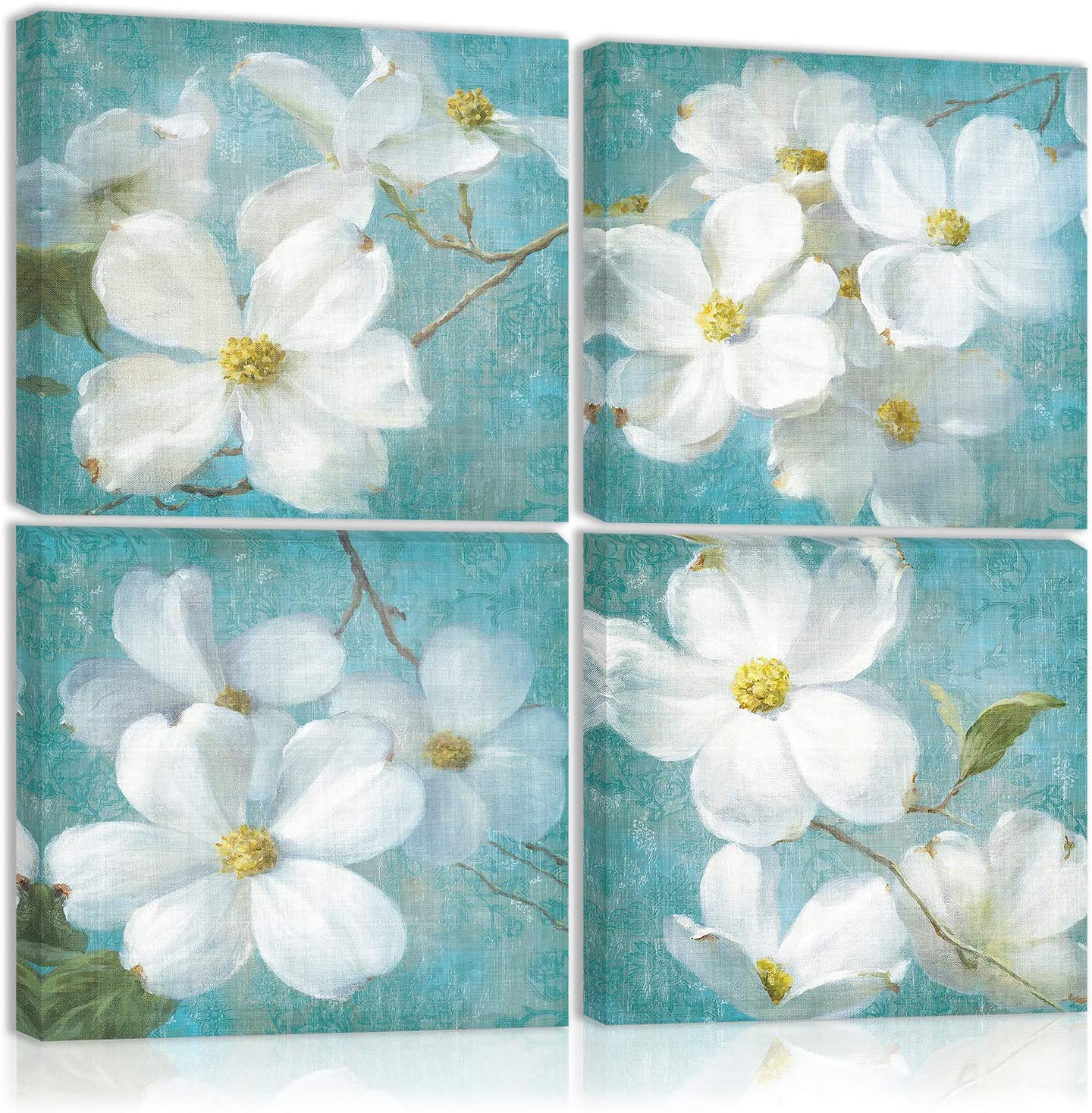 White Magnolia Orchid Flower Wall Art Decor On The Vintage Blue Canvas Painting Kitchen Prints Pictures For Home Living Dining Room
