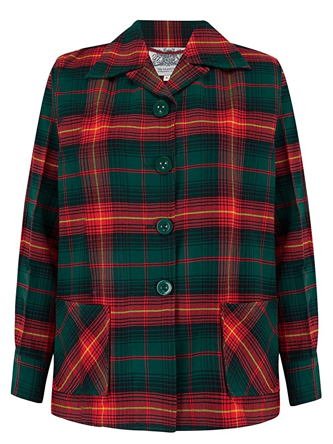 Vintage Coats & Jackets | Retro Coats and Jackets The Seamstress of Bloomsbury 1940s Authentic Vintage Inspired 49er Jacket in Red/Green Check £85.00 AT vintagedancer.com