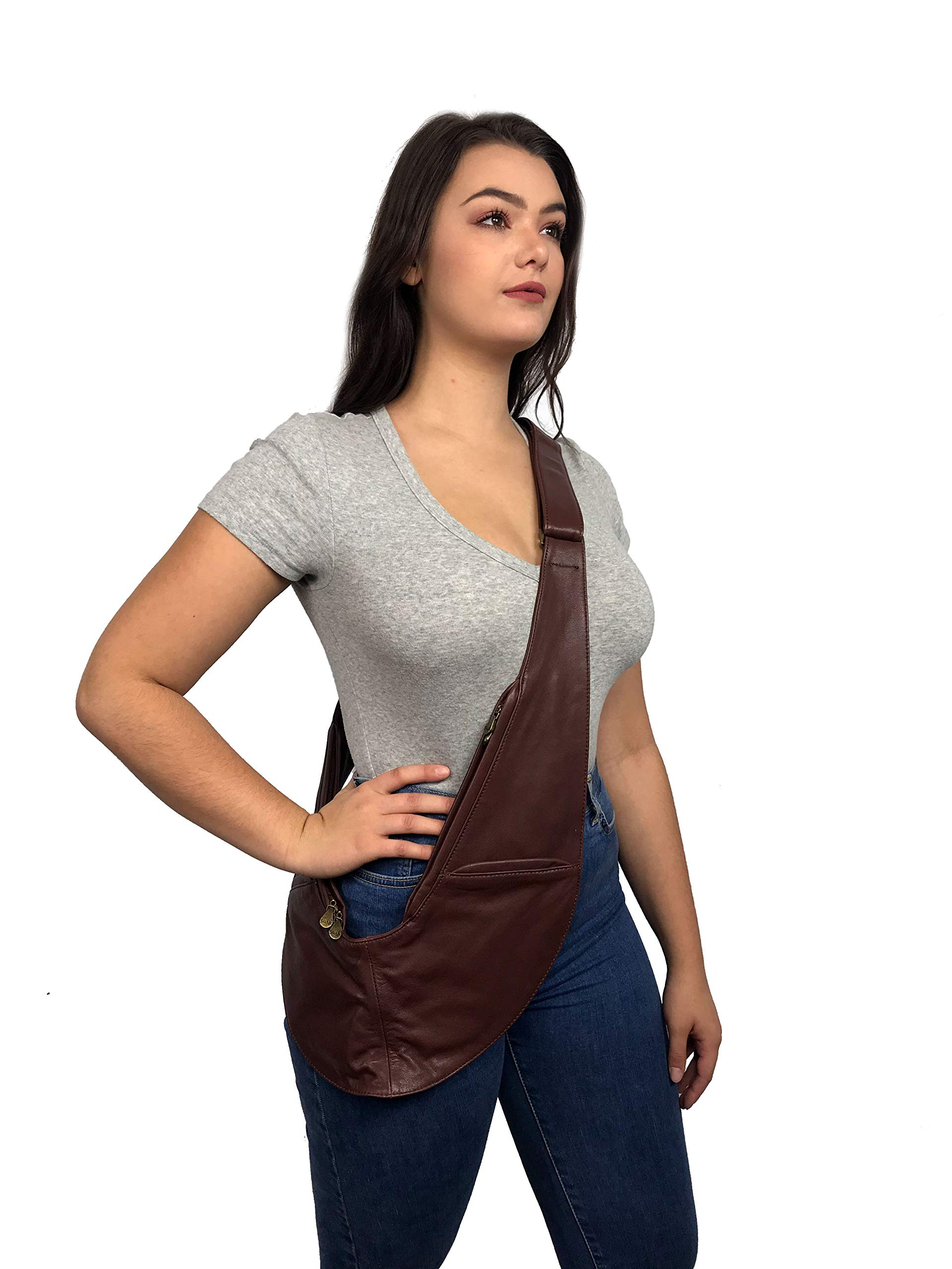 Womens Crossbody Bag by SASH - Over The Shoulder Cross Body Purse with Spacious Organized Storage, Anti Theft RFID and Adjustable Strap (Brown Genuine Leather)
