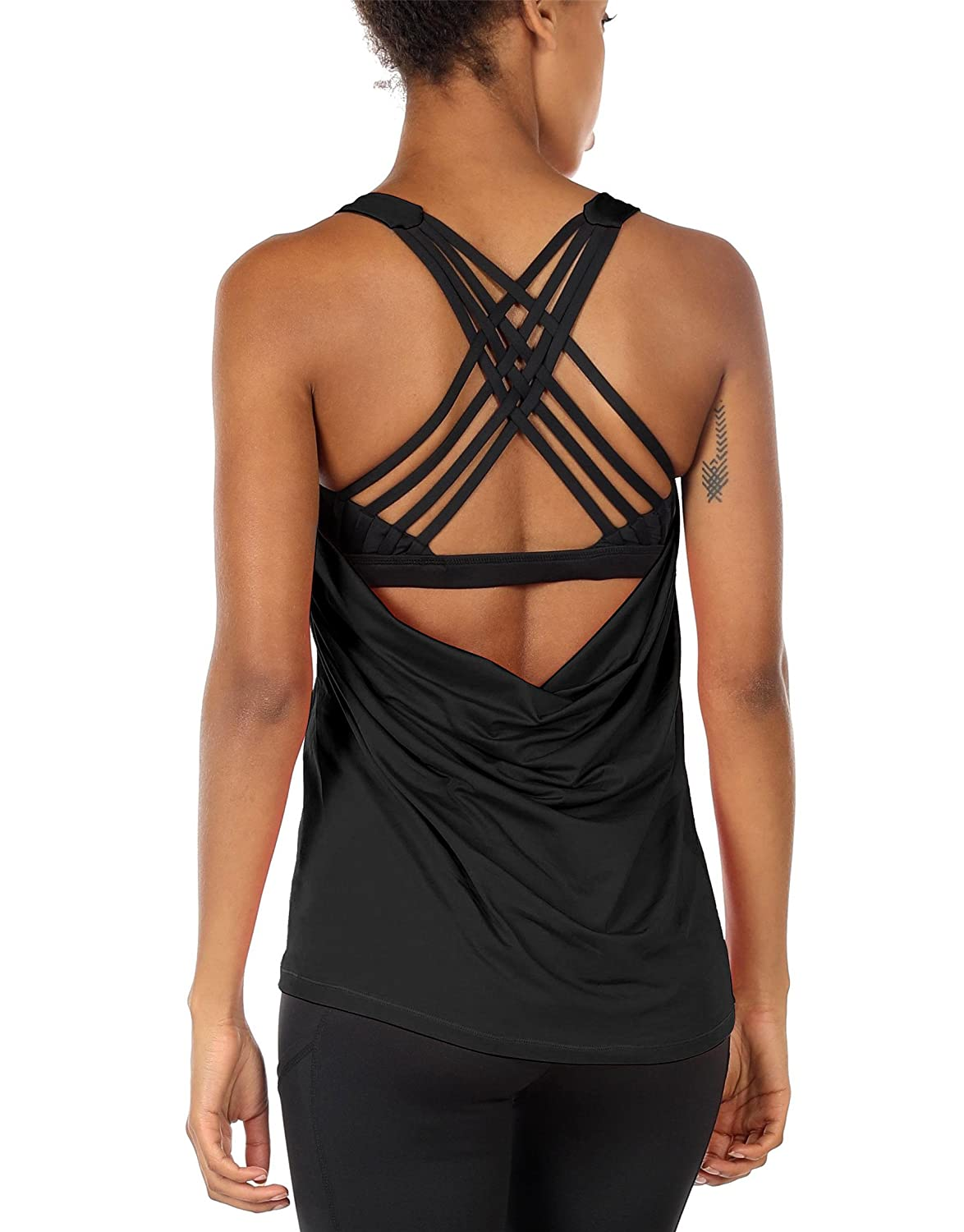 d5e73b35d9 icyzone Yoga Tops Workouts Clothes Activewear Built in Bra Tank Tops for  Women at Amazon Women s Clothing store