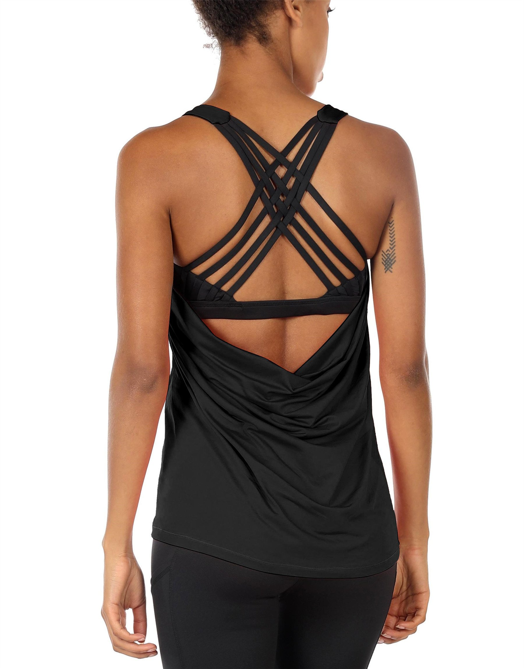 icyzone Yoga Tops Workouts Clothes Activewear Built in Bra Tank Tops for Women (XL, Black)