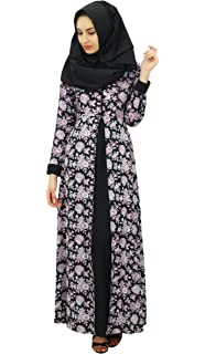 Bimba Womens Islamic Floral Printed Jilbab Dress Designer Rayon Maxi Abaya