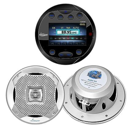 """Silver Marine Round AM FM AUX Radio,Antenna,Bluetooth Amplifier /& 5.25/"""" Speakers"""