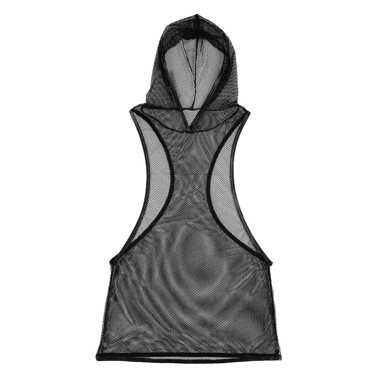 Freebily Men Mesh Underwear Fishnet Hoodie Tank Tops Vest Club Wear Undershirt