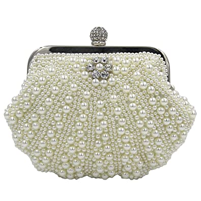 Kaever Women s Evening Bag Pearl Bead Crystal Bag Shell Handbag Wedding Bags  Apricot 05cb2e8014c4