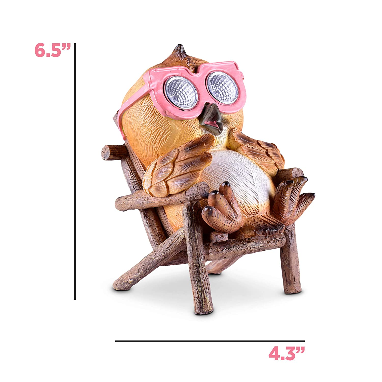 Outdoor Yard Lawn Decor LED Figure Light Up Decorative Statue Accents Patio or Deck Weather Resistant Brown - 1 Pack Owl Figurine Solar Garden Decorations Great Housewarming Gift Idea