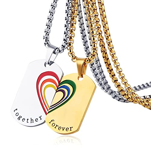 62c8423dfe HZMAN Rainbow Heart LGBT Pride Dog Tag Stainless Steel Pendant Together  Forever Couple Necklace Set (
