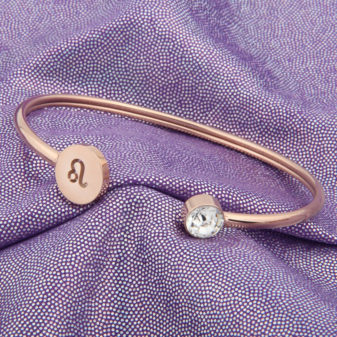 Zuo Bao Simple Rose Gold Zodiac Sign Cuff Bracelet with Birthstone Birthday Gift for Women Girls (Leo) by Zuo Bao (Image #3)