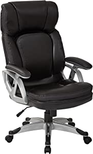 Office Star High Back 2-Tone Stitching Bonded Leather Executives Chair with Padded Arms and Silver Coated Accents, Black
