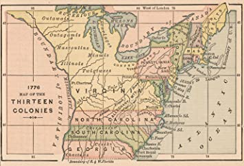 Amazoncom Map Poster Map Of The Thirteen Colonies - Map of us colonies 1776