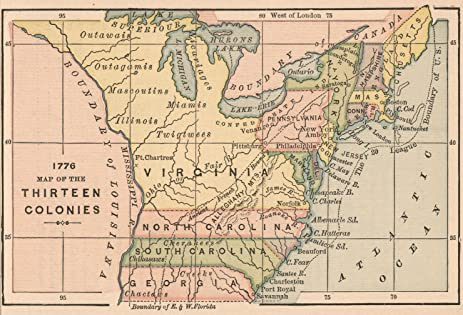 Thirteen Colonies Colonies Of North America In Pictures - Us map in 1776