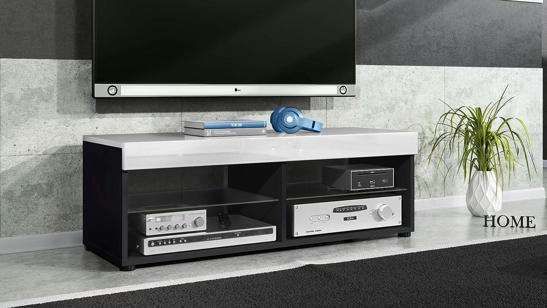Mesa Baja para TV Pure, Cuerpo en Negro Mate/Paneles y Parte Superior en Blanco de Alto Brillo   Gran selección de Colores: Vladon: Amazon.es: Hogar