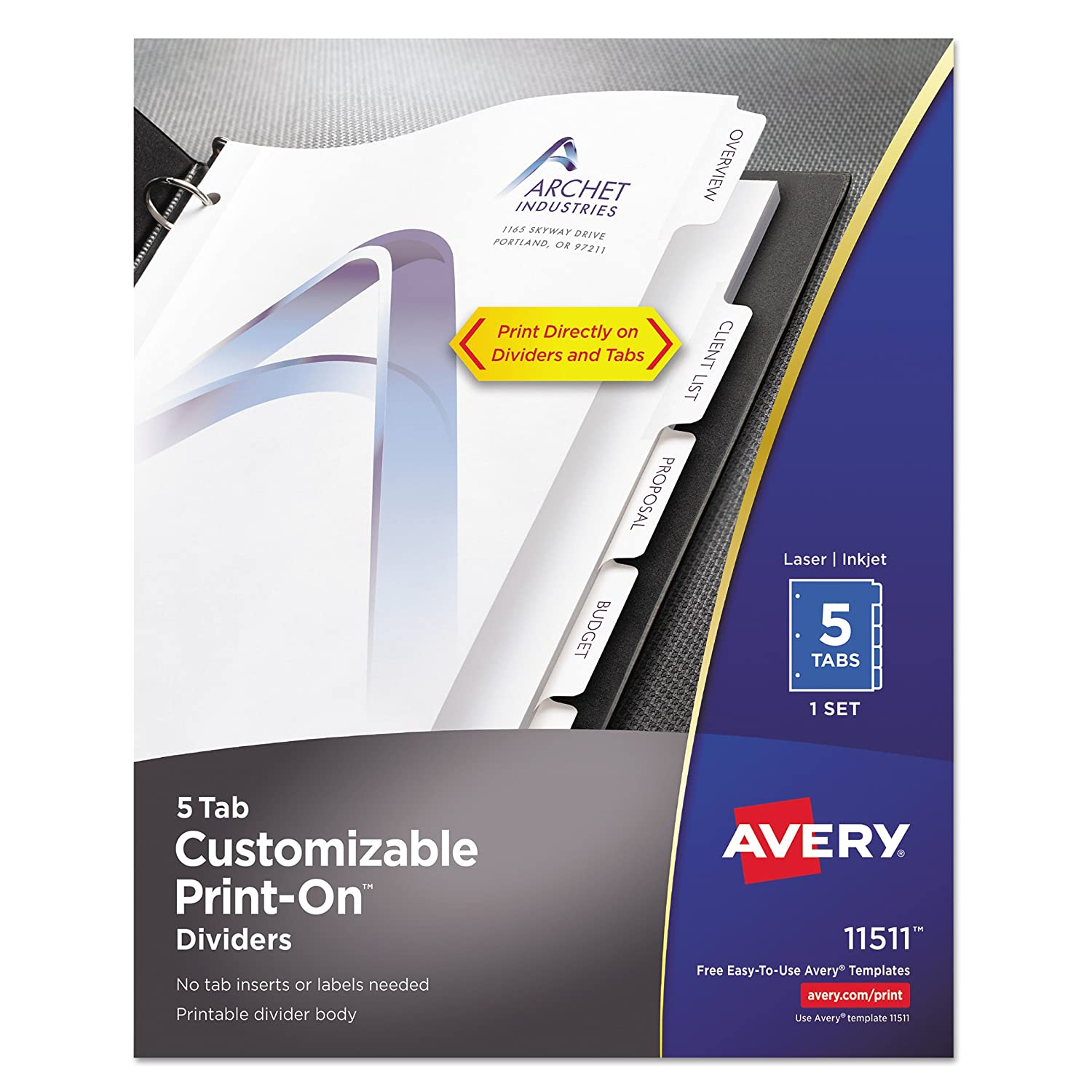 Avery Customizable Print-On Dividers -Print-on -8.50-Inch x11-Inch -5/Set -White Divider S.P. Richards CA 11511