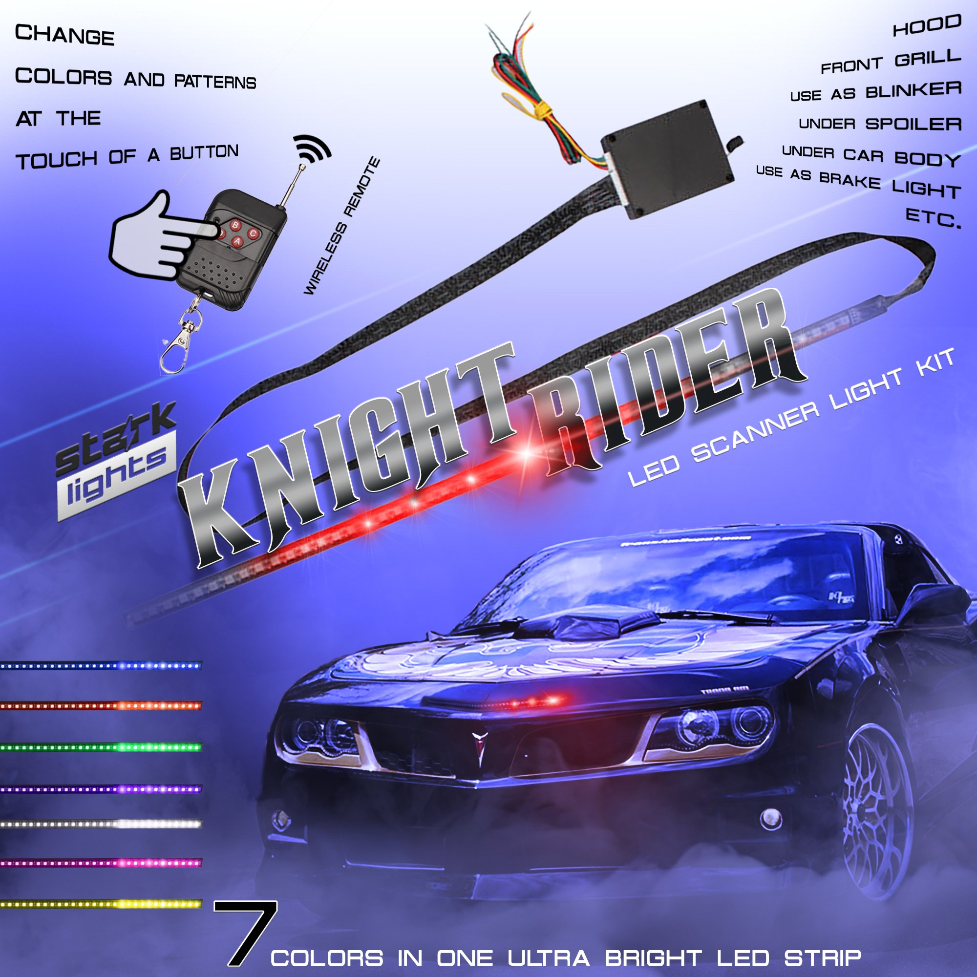 48 LED RGB Knight Rider Scanner DRL Multi Color Flash Car Strobe 7 Color Universal Light Kit Strip 22 Inch by Stark