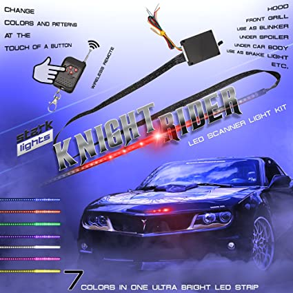0539be068a Amazon.com: 48 LED RGB Knight Rider Scanner DRL Multi Color Flash Car  Strobe 7 Color Universal Light Kit Strip 22 Inch: Automotive