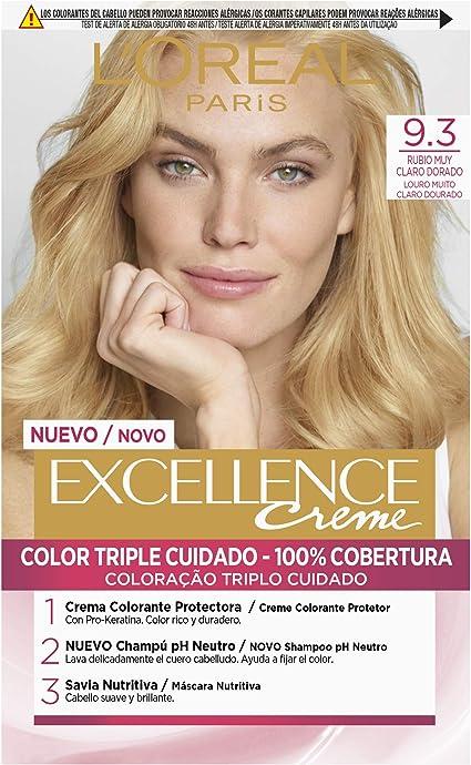 LOréal Paris Excellence Creme Tinte Tono 9.3 Rubio Claro Claro Dorado - 50 ml