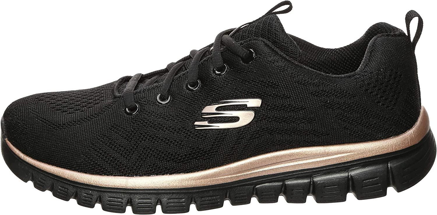 Skechers Graceful Get Connected dames sneakers - Zwart - Maat 37 EU Zwart Rose Goud