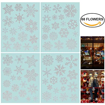 nicexmas 68 glitter snowflake window clings christmas window decorations glueless pvc stickers - Christmas Window Decorations Amazon