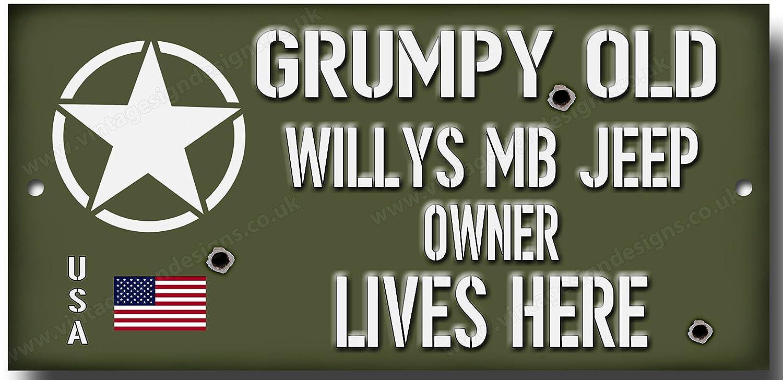 Grumpy Old Willys Jeep propri/étaire dr/ôle qualit/é signal m/étallique