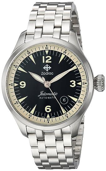 "Zodiac ""jetomatic Swiss acero inoxidable Casual reloj automático de hombre, color: silver"