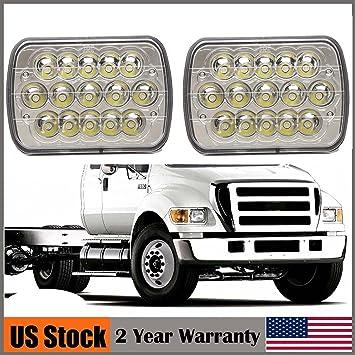 "2pcs Car 4*6/"" Square LED Crystal Light Clear Sealed Beam Headlamp with 15 LED UY"