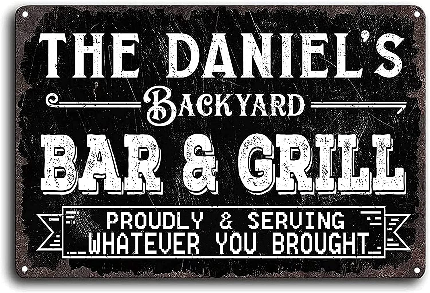 ICRAEZY Personalized Backyard Bar & Grill Sign Vintage Distressed Look Wall Decor Metal Wooden Home Plaque Gifts Man Cave Signs Vintage Wall Art Decorations
